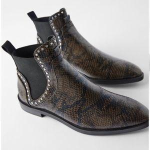 Zara studded snakeskin flat booties